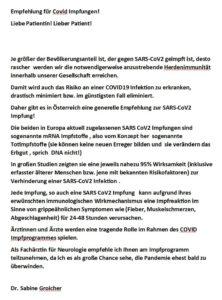 Empfehlung für Impfung gegen CoViD!